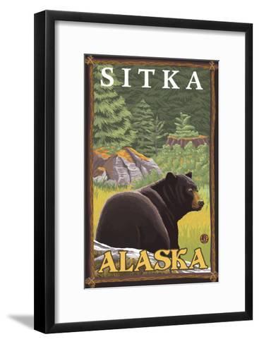 Black Bear in Forest, Sitka, Alaska-Lantern Press-Framed Art Print