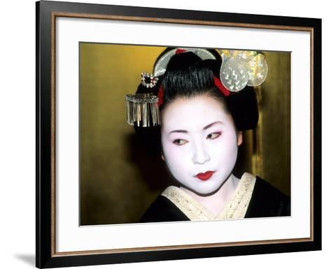 Close-up of Geisha Girl in Gold, Kyoto, Japan-Bill Bachmann-Framed Art Print