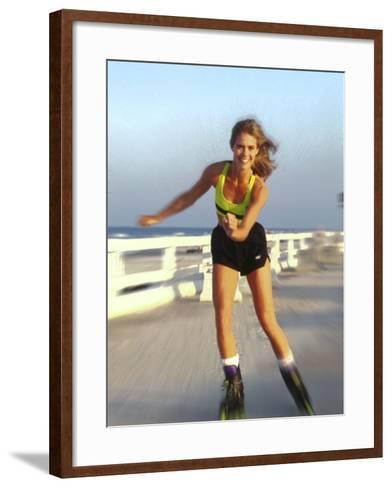 Young Woman on Rollerblades at the Beach-Bill Bachmann-Framed Art Print