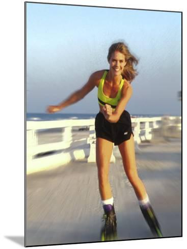Young Woman on Rollerblades at the Beach-Bill Bachmann-Mounted Photographic Print