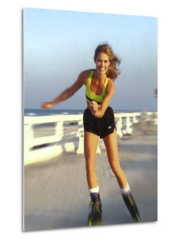 Young Woman on Rollerblades at the Beach-Bill Bachmann-Metal Print