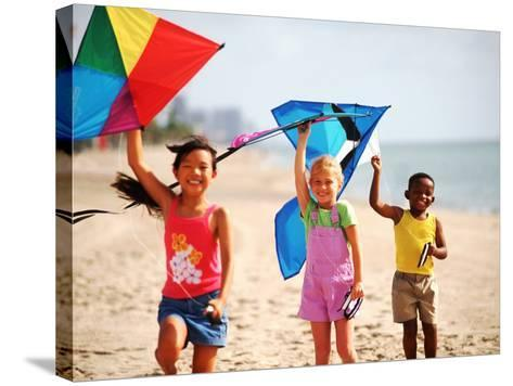Children Flying Kites on the Beach-Bill Bachmann-Stretched Canvas Print