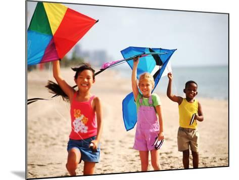 Children Flying Kites on the Beach-Bill Bachmann-Mounted Photographic Print