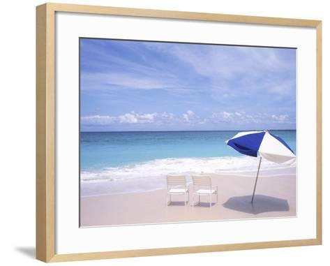 Lounge Chairs and Umbrella on the Beach-Bill Bachmann-Framed Art Print