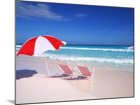 Lounge Chairs and Umbrella on the Beach-Bill Bachmann-Mounted Photographic Print