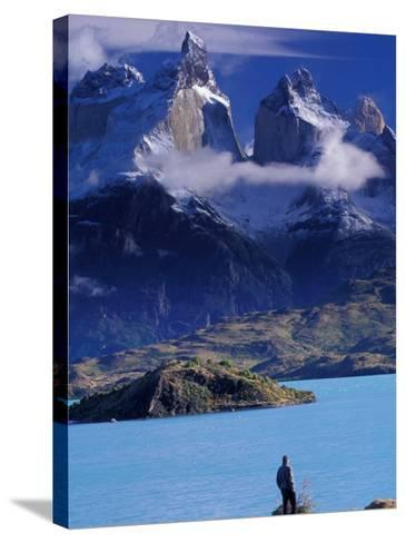 Hiker and Cuernos del Paine, Torres del Paine National Park, Chile-Art Wolfe-Stretched Canvas Print
