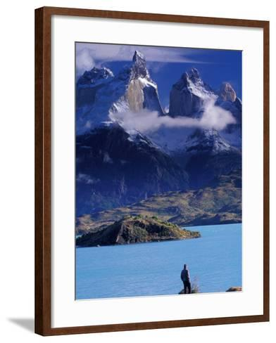 Hiker and Cuernos del Paine, Torres del Paine National Park, Chile-Art Wolfe-Framed Art Print