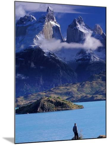 Hiker and Cuernos del Paine, Torres del Paine National Park, Chile-Art Wolfe-Mounted Photographic Print