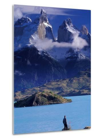 Hiker and Cuernos del Paine, Torres del Paine National Park, Chile-Art Wolfe-Metal Print