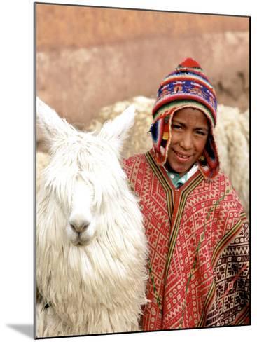 Boy in Costume with Llamas, Cuzco, Peru-Bill Bachmann-Mounted Photographic Print