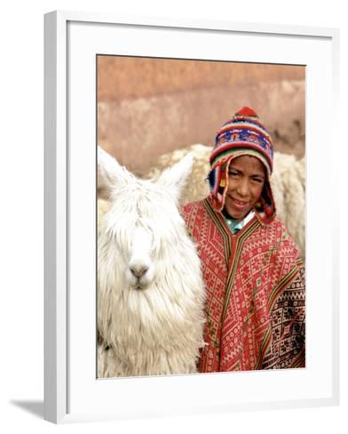 Boy in Costume with Llamas, Cuzco, Peru-Bill Bachmann-Framed Art Print