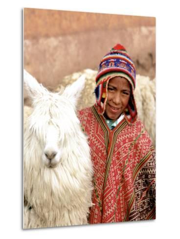 Boy in Costume with Llamas, Cuzco, Peru-Bill Bachmann-Metal Print