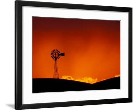 Windmill at Sunset, Palouse Region, Washington, USA-Art Wolfe-Framed Art Print