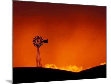 Windmill at Sunset, Palouse Region, Washington, USA-Art Wolfe-Mounted Photographic Print