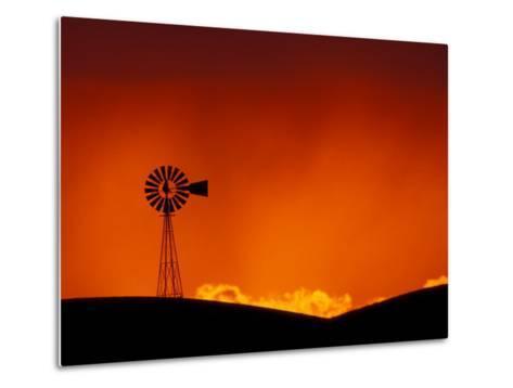Windmill at Sunset, Palouse Region, Washington, USA-Art Wolfe-Metal Print