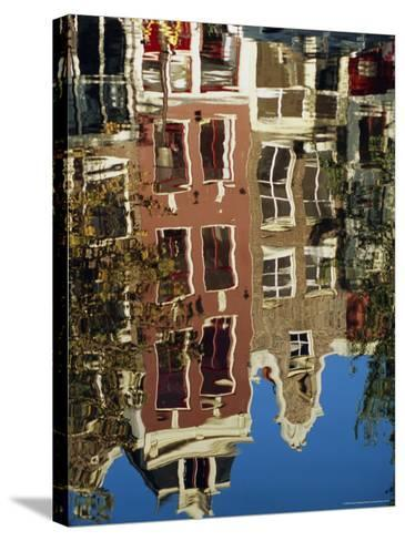 Reflection of Amsterdam Houses in Canal, Amsterdam, the Netherlands (Holland), Europe-Richard Nebesky-Stretched Canvas Print