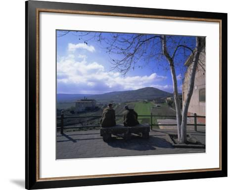 Two Men on a Bench, Barbagia, Sardinia, Italy, Europe-Oliviero Olivieri-Framed Art Print