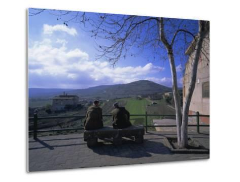 Two Men on a Bench, Barbagia, Sardinia, Italy, Europe-Oliviero Olivieri-Metal Print