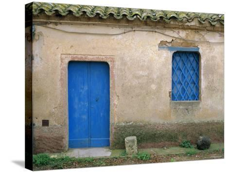 House with Blue Door and Window, Bagia, Sardinia, Italy, Mediterranean, Europe-Oliviero Olivieri-Stretched Canvas Print