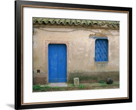 House with Blue Door and Window, Bagia, Sardinia, Italy, Mediterranean, Europe-Oliviero Olivieri-Framed Art Print