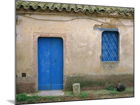 House with Blue Door and Window, Bagia, Sardinia, Italy, Mediterranean, Europe-Oliviero Olivieri-Mounted Photographic Print