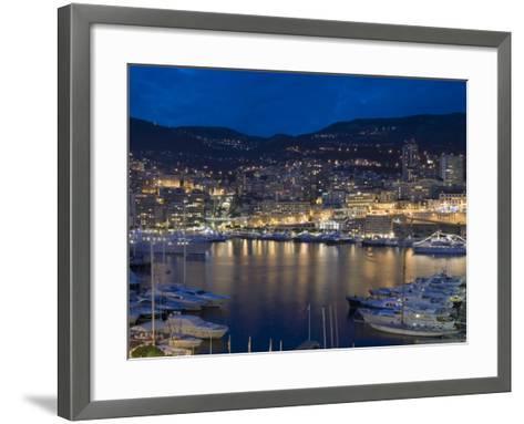 Waterfront at Night, Monte Carlo, Principality of Monaco, Cote d'Azur, Mediterranean, Europe-Sergio Pitamitz-Framed Art Print