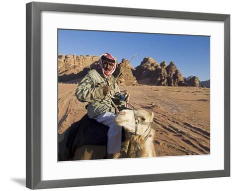 Bedouin on Camel in the Desert, Wadi Rum, Jordan, Middle East-Sergio Pitamitz-Framed Art Print