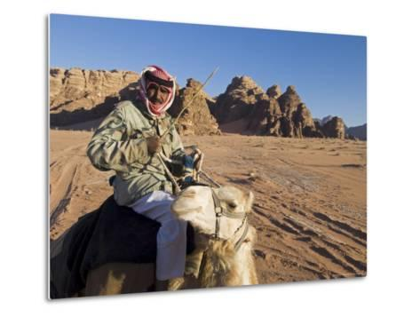 Bedouin on Camel in the Desert, Wadi Rum, Jordan, Middle East-Sergio Pitamitz-Metal Print