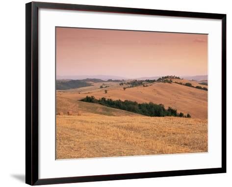 Fields at Sunset, Crete Senesi, Siena Province, Tuscany, Italy, Europe-Sergio Pitamitz-Framed Art Print