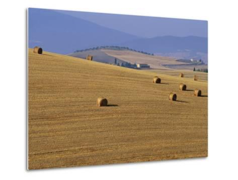 Hay Bales, Val d'Orcia, Siena Province, Tuscany, Italy, Europe-Sergio Pitamitz-Metal Print