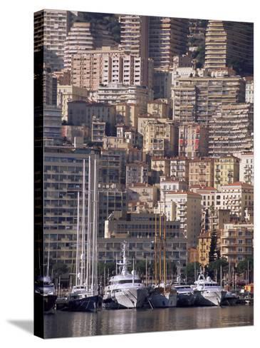 Boats on the Waterfront, Monte Carlo, Monaco, Cote d'Azur, Mediterranean, Europe-Sergio Pitamitz-Stretched Canvas Print