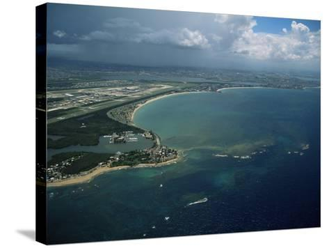 Aerial of the Island of Puerto Rico, West Indies, Central America-James Gritz-Stretched Canvas Print