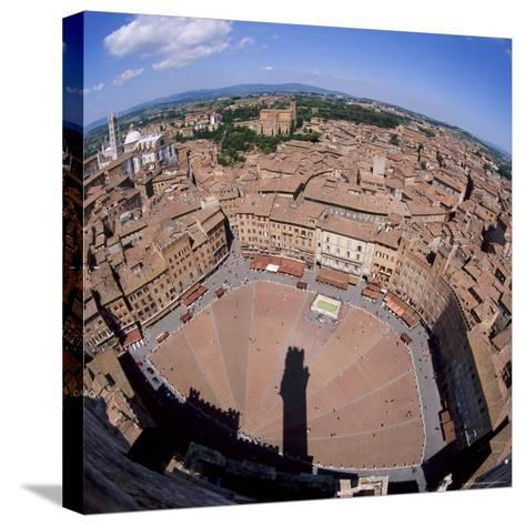 Aerial View of the Piazza Del Campo and the Town of Siena, Tuscany, Italy-Tony Gervis-Stretched Canvas Print