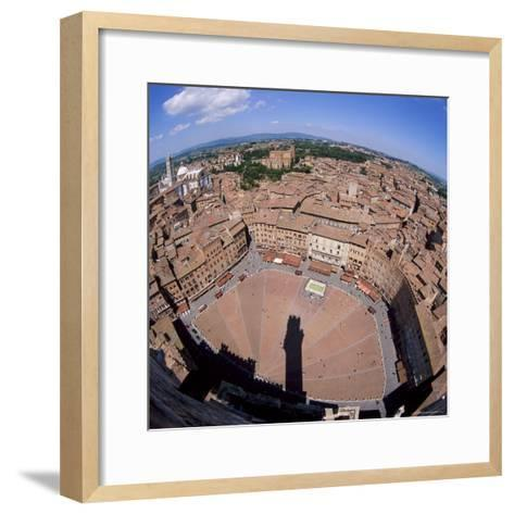 Aerial View of the Piazza Del Campo and the Town of Siena, Tuscany, Italy-Tony Gervis-Framed Art Print