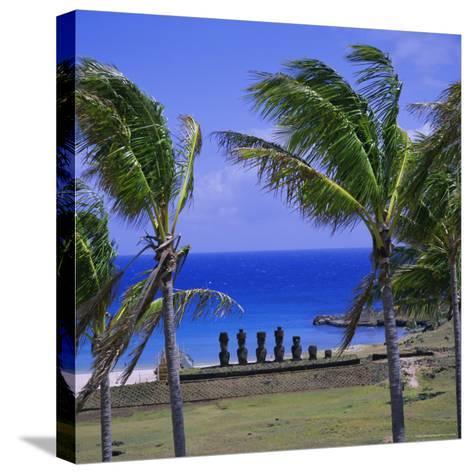 Anakena Beach with Ahu Nau Nau, Easter Island, Chile, Pacific-Geoff Renner-Stretched Canvas Print