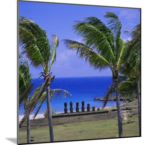 Anakena Beach with Ahu Nau Nau, Easter Island, Chile, Pacific-Geoff Renner-Mounted Photographic Print
