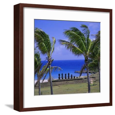 Anakena Beach with Ahu Nau Nau, Easter Island, Chile, Pacific-Geoff Renner-Framed Art Print