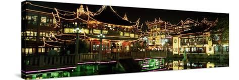 Yu Yuan Tea House and Shops at Night, Yu Yuan Shangcheng, Yu Gardens Bazaar, Shanghai, China, Asia-Gavin Hellier-Stretched Canvas Print