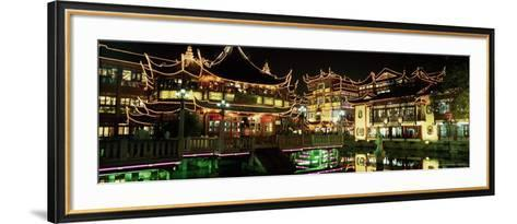 Yu Yuan Tea House and Shops at Night, Yu Yuan Shangcheng, Yu Gardens Bazaar, Shanghai, China, Asia-Gavin Hellier-Framed Art Print