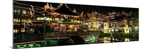 Yu Yuan Tea House and Shops at Night, Yu Yuan Shangcheng, Yu Gardens Bazaar, Shanghai, China, Asia-Gavin Hellier-Mounted Photographic Print