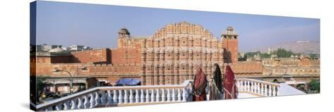 Women in Saris in Front of the Facade of Hawa Mahal, Jaipur, Rajasthan State, India-Gavin Hellier-Stretched Canvas Print