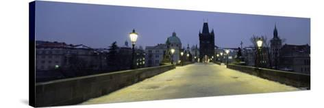 Charles Bridge in Winter Snow, Prague, Unesco World Heritage Site, Czech Republic, Europe-Gavin Hellier-Stretched Canvas Print