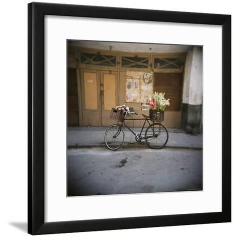 Bicycle with Flowers in Basket, Havana Centro, Havana, Cuba, West Indies, Central America-Lee Frost-Framed Art Print