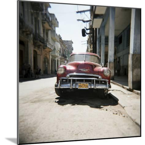 Old Red American Car, Havana, Cuba, West Indies, Central America-Lee Frost-Mounted Photographic Print