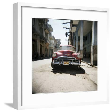 Old Red American Car, Havana, Cuba, West Indies, Central America-Lee Frost-Framed Art Print