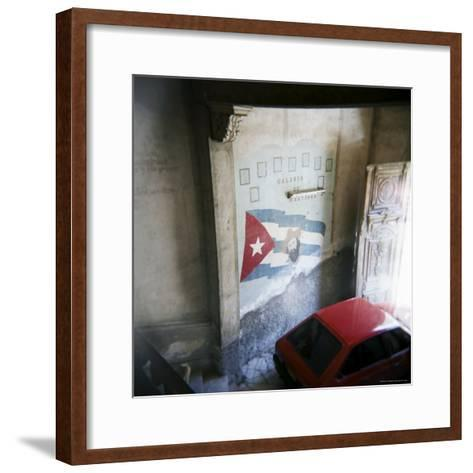 Mural of Camilo Cienfuegos on the Wall of an Apartment Building, Havana, Cuba-Lee Frost-Framed Art Print