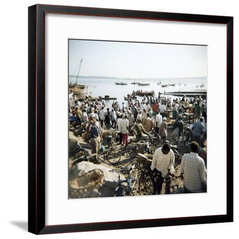 People Waiting on Beach for Dhows to Land Fish, Stone Town, Zanzibar, Tanzania, East Africa, Africa-Lee Frost-Framed Art Print