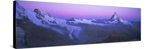 Pink Sky Before Sunrise Over the Lower Theodul Glacier and the Matterhorn Mountain, Swiss Alps-Ruth Tomlinson-Stretched Canvas Print