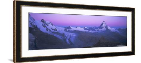 Pink Sky Before Sunrise Over the Lower Theodul Glacier and the Matterhorn Mountain, Swiss Alps-Ruth Tomlinson-Framed Art Print