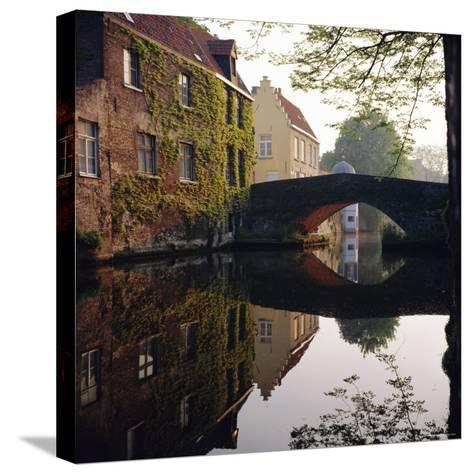 Canal Reflections, Bruges, Belgium-Roy Rainford-Stretched Canvas Print